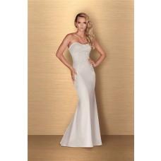 Sheath Strapless Low Back Satin Lace Applique Beaded Wedding Dress