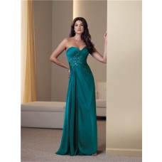 Sheath Strapless Peacock Green Chiffon Ruched Mother Of The Bride Evening Dress