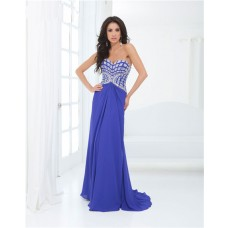 Sheath Strapless Sweetheart Draped Long Royal Blue Chiffon Beaded Prom Dress
