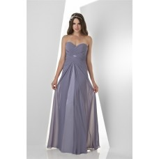Sheath Strapless Sweetheart Long Grey Chiffon Ruched Occasion Bridesmaid Dress