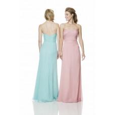 Sheath Strapless Sweetheart Long Light Pink Chiffon Ruched Bridesmaid Dress