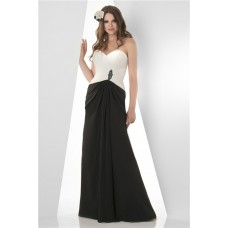 Sheath Strapless Sweetheart Long White And Black Chiffon Draped Two Tone Bridesmaid Dress