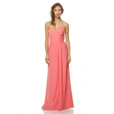 Sheath Strapless Sweetheart Neckline Long Coral Chiffon Ruched Wedding Party Bridesmaid Dress
