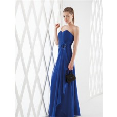 Sheath Strapless Sweetheart Royal Blue Chiffon Long Formal Occasion Evening Dress Flowers Sash