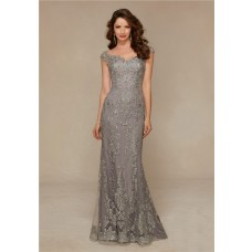 Sheath Sweetheart Cap Sleeve Grey Lace Beaded Formal Occasion Evening Dress
