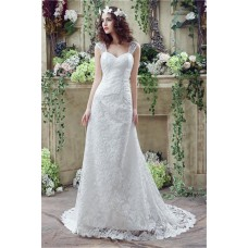 Sheath Sweetheart Corset Back Lace Wedding Dress With Straps
