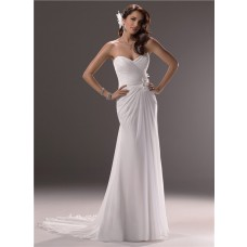 Sheath Sweetheart Cowl Back Chiffon Beach Wedding Dress With Flowers