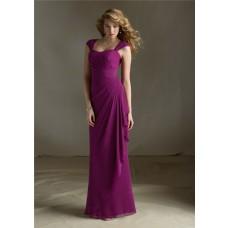 Sheath Sweetheart Detachable Cap Sleeves Long Purple Chiffon Bridesmaid Dress Open Back