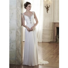 Sheath Sweetheart Draped Chiffon Crystal Wedding Dress With Straps