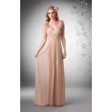 Sheath Sweetheart Empire Waist Floral Straps Long Nude Chiffon Draped Occasion Bridesmaid Dress
