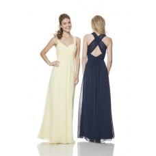Sheath Sweetheart Empire Waist Long Pale Yellow Chiffon Ruched Bridesmaid Dress With Straps