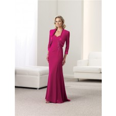 Sheath Sweetheart Fuchsia Chiffon Satin Mother Of The Bride Evening Dress With Jacket Straps