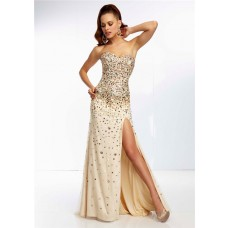 Sheath Sweetheart Long Champagne Silk Tulle Gold Beaded Prom Dress With Slit