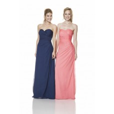 Sheath Sweetheart Long Coral Chiffon Ruched Wedding Guest Bridesmaid Dress