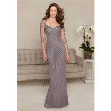 Sheath Sweetheart Long Grey Chiffon Tulle Beaded Evening Dress With Sleeves