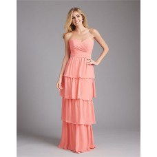 Sheath Sweetheart Long Tiered Coral Chiffon Wedding Guest Bridesmaid Dress