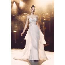Sheath Sweetheart Satin Lace Wedding Dress With Detachable Organza Ruffle Skirt