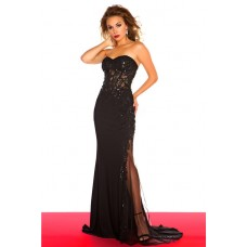 Sheath Sweetheart See Through Corset Long Black Chiffon Lace Sequin Prom Dress