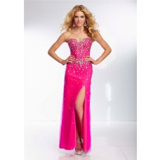 Sheath Sweetheart Sheer See Through Corset Long Hot Pink Tulle Beaded Prom Dress With Slit