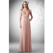 Sheath Sweetheart Straps Long Peach Chiffon Ruched Occasion Bridesmaid Dress Detachable Ruffle Sleeves
