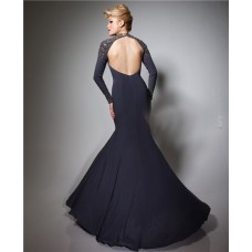 Sheath V Neck Backless Slit Long Sleeve Charcoal Grey Chiffon Beaded Prom Dress Open Back