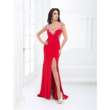 Sheath V Neck Cap Sleeve Backless Long Red Chiffon Beaded Prom Dress With Split Open Back