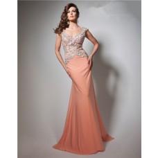 Sheath V Neck Cap Sleeve Long Coral Chiffon Beaded Prom Dress Open Back
