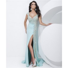 Sheath V Neck Cap Sleeve Low Back Long Light Baby Blue Chiffon Beading Prom Dress Slit