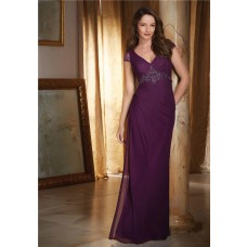 Sheath V Neck Cap Sleeve Open Back Long Purple Chiffon Beaded Evening Dress