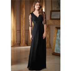 Sheath V Neck Empire Waist Long Black Chiffon Beaded Evening Dress With Sleeves