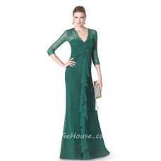 Sheath V Neck Green Chiffon Ruffle Special Occasion Evening Dress Lace Sleeves
