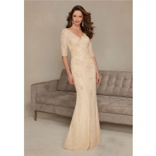 Sheath V Neck Long Champagne Lace Sleeve Mother Of The Bride Evening Dress