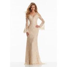 Sheath V Neck Long Sleeve Champagne Lace Beaded Boho Prom Dress