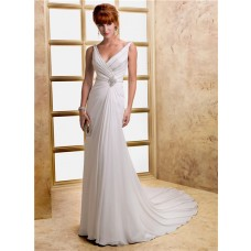 Sheath V Neck Low Back Chiffon Beading Destination Beach Wedding Dress