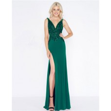 Sheath V Neck Low Back High Slit Green Jersey Beaded Prom Dress
