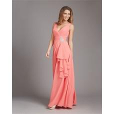 Sheath V Neck Low Back Long Coral Chiffon Ruffle Wedding Guest Bridesmaid Dress