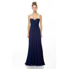 Sheath V Neck Low Back Long Nude And Navy Blue Chiffon Beaded Occasion Bridesmaid Dress