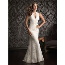 Sheath V Neck Scalloped Lace Destination Wedding Dress With Sheer Back