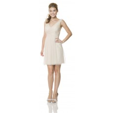Sheath V Neck Short Beige Tulle Wedding Party Bridesmaid Dress With Straps