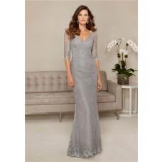 Sheath V Neck Silver Lace Sleeve Mother Of The Bride Evening Dress