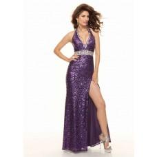 Sheath halter v neck floor length sequined purple prom dress