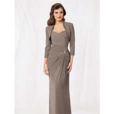 Sheath sweetheart floor length grey chiffon formal mother of the bride dress with jacket