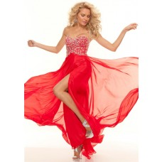 Sheath sweetheart floor length red chiffon beaded prom dress