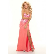 Sheath sweetheart long coral sequined chiffon prom dress with train