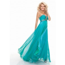 Sheath sweetheart empire long turquoise chiffon prom dress with beading