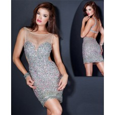 Sheer Illusion Neckline Open Back Short Mini Silver Beaded Cocktail Party Dress