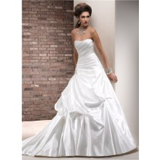Simple A Line One Shoulder Ruched Taffeta Wedding Dress With Detachable Strap
