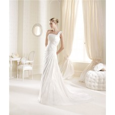 Simple A Line One Shoulder Strap Chiffon Ruched Beach Destination Wedding Dress