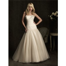 Simple A Line Strapless Dropped Waist Champagne Tulle Wedding Dress With Crystal