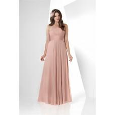 Simple A Line Strapless Long Peach Chiffon Draped Wedding Guest Bridesmaid Dress